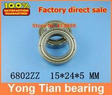 NBZH sale price 50pcs free shipping thin wall deep groove ball bearing 6802ZZ 15*24*5 mm ABEC 1 Z1