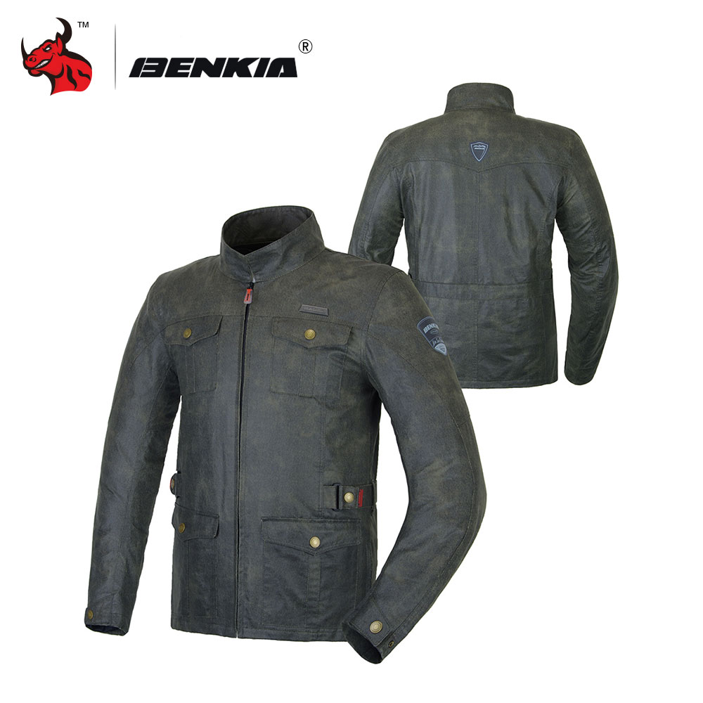 BENKIA Vintage Motorcycle Jacket Men S Motorcycle Racing Jacket Blouson Moto Motorcross Jacket Jaqueta Motoqueiro Couro