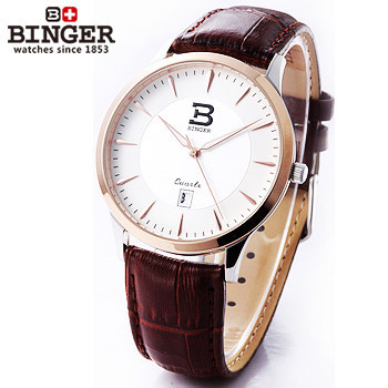 Здесь можно купить   Casual Mens Watch Retro Design Brown Leather Rose Gold Wristwatch Binger Quartz Watches Originals Dress Switzerland Clock  Часы