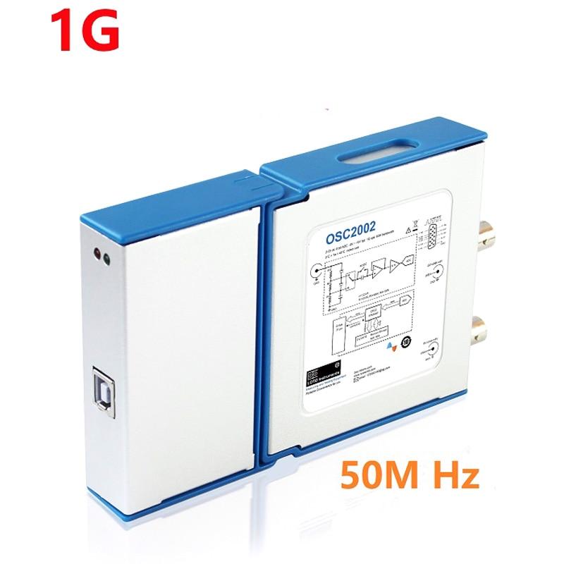 Dual channel Virtual oscilloscope USB PC oscilloscope OSC2002 1G sampling 50M bandwidth than 1008C 6022BE