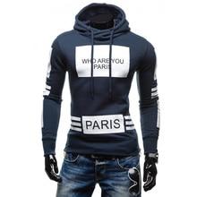 2016 New Arrival Mens Hoody Sweatshirt Fashion Letter Print Slim Fit Pullover Hoodies Long Sleeve Men Free shipping