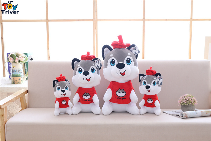 25 40cm Plush Husky Shiba Inu Dog with Red Hat Toy Stuffed Pet Puppy Doll Baby Kids Birthday Christmas Gift Shop Decor Triver in Stuffed Plush Animals from Toys Hobbies