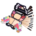 Fashionable12 pcs Makeup Brushs & Eye Shadow Lip Gloss Blush Pressed Powder Makeup Butterfly Shape Palette Set with Leopard Bag