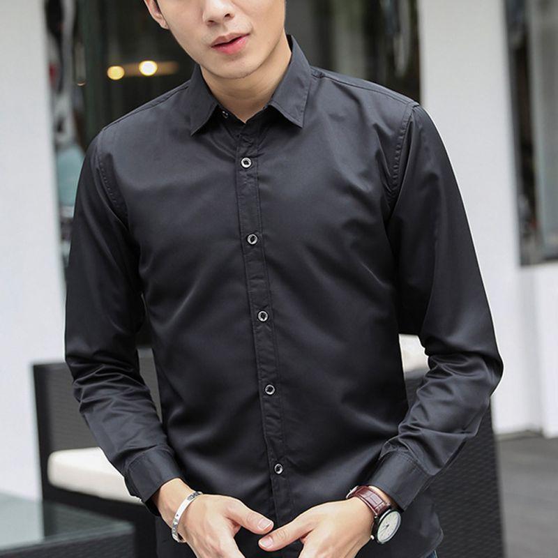 New Brand 2018 Fashion Male Shirt Long-Sleeves Tops Slim Casual Solid Color Mens Dress Shirts Slim Business Shirt Male W9