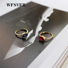 WFSVER 925 sterling silver ring for women gold color korean style with red/blue crystal opening adjustable fine jewelry