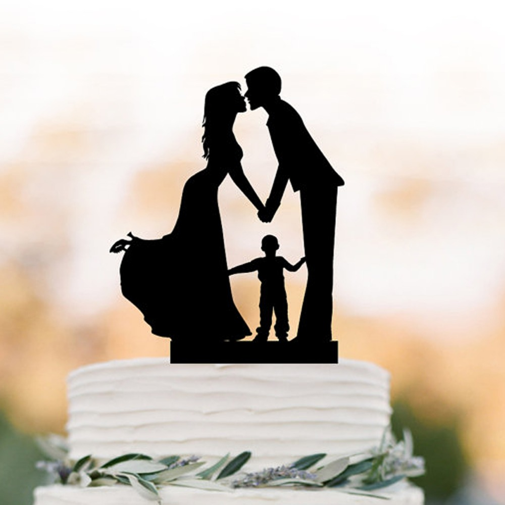 Customized Acrylic Wooden Wedding Cake Topper Family