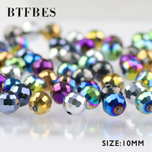 BTFBES Plated Color Ball Austrian Crystal Beads 30pcs 10mm 96 Faceted Round Loose for Jewelry Bracelet Earring Making DIY