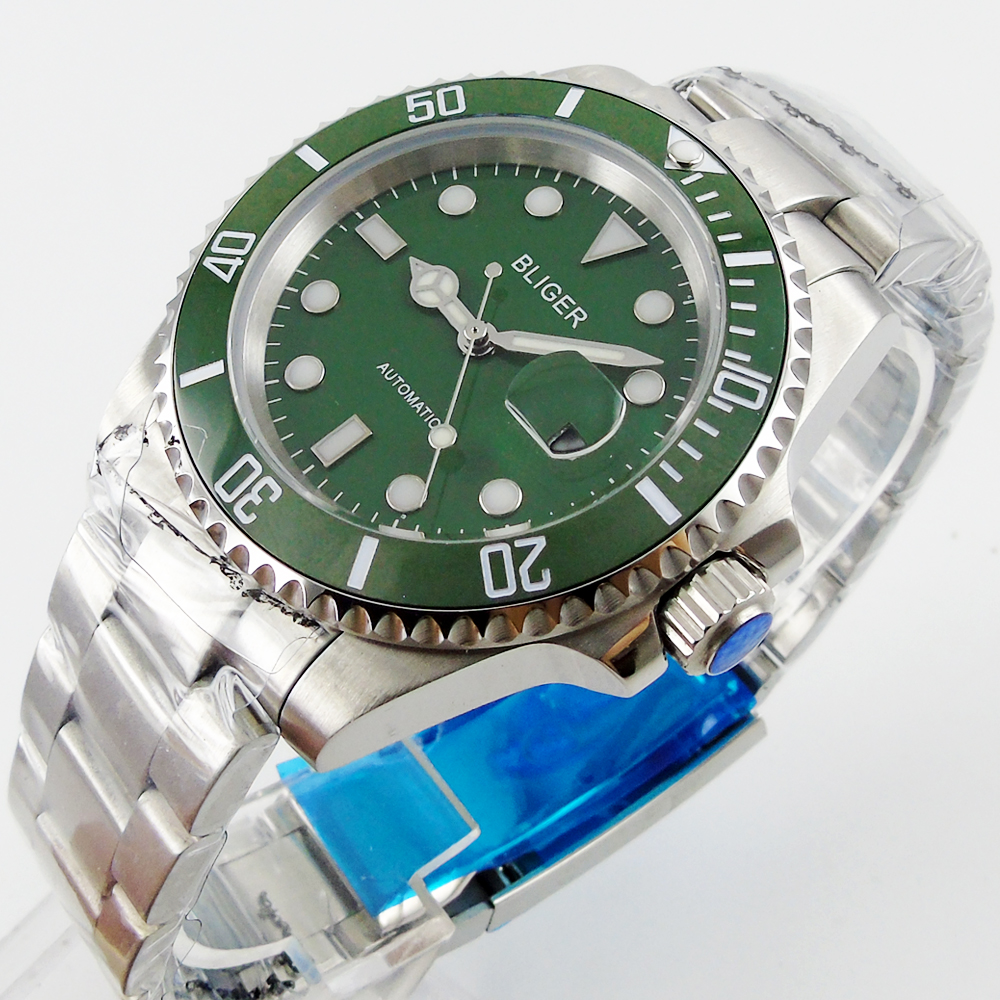 лучшая цена Bliger 40mm green dial luminous saphire glass green Ceramic Bezel Automatic movement wristwatch