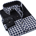 Imported Cheap Slim fit New Mens Sanding Plaid Shirts Long Sleeved Patchwork Casual Shirts Fashion  Higjh Quality Men Clothes