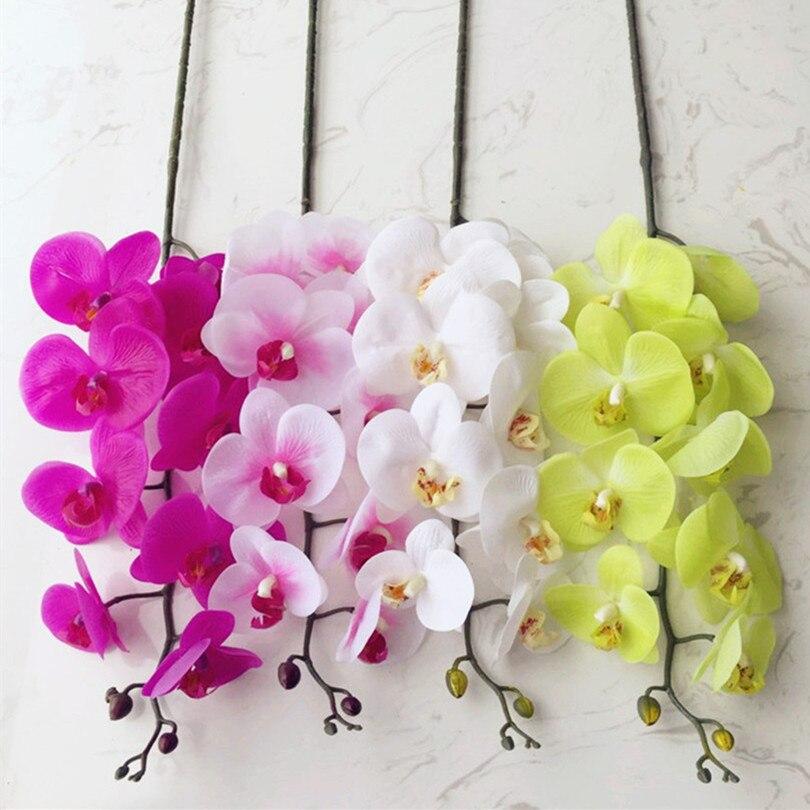 5 Unids PU Orquídeas Phalaenopsis Orquídea Artificial Verdadero Toque de Látex d