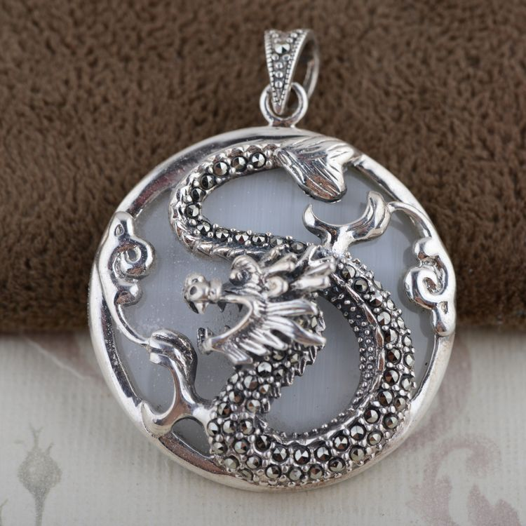 S925 Sterling Silver Opal Pendant inlaid antique style twelve zodiac Dragon
