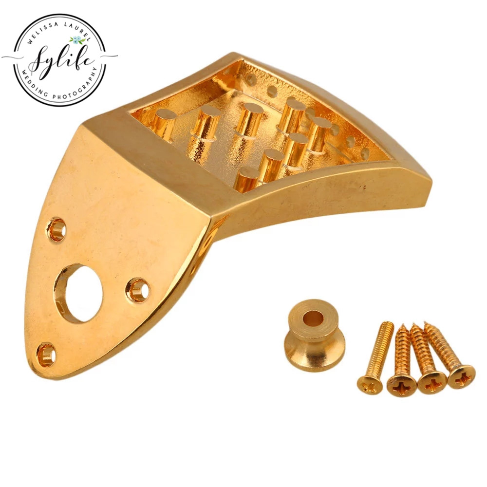 Metal 75x45x9mm Triangle <font><b>8</b></font>-<font><b>String</b></font> Mandolin Tailpiece Golden <font><b>Guitar</b></font> <font><b>Parts</b></font> image