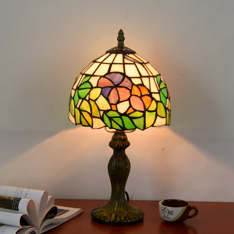Originality Stained glass Garden Flower desk lamp American Pastoral Countryside Hotel BarBedside LED lamp 110-240V Dia:20CM originality stained glass garden flower desk lamp american pastoral countryside hotel barbedside led lamp 110 240v dia 20cm