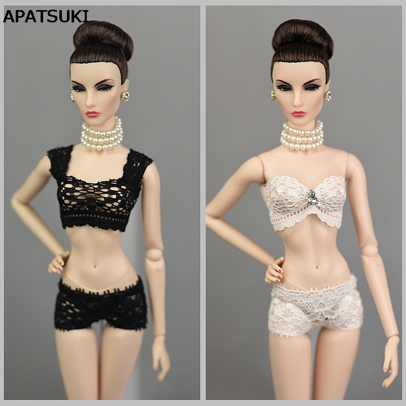 1Set Soft Lace Underwear Bra & Briefs For Barbie Doll 1/6 Knickers For Blythe 1/6 BJD Dolls Top & Underpant For Barbie Dollhouse