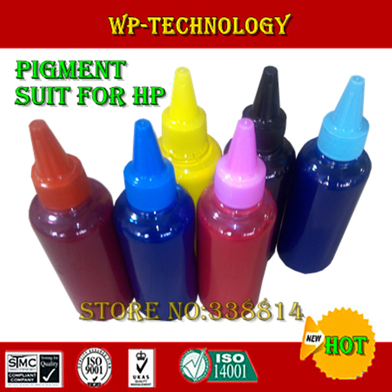 6 color Compatible pigment refill ink suit for HP 6 color printer ,High quality, BK C M Y LC LM