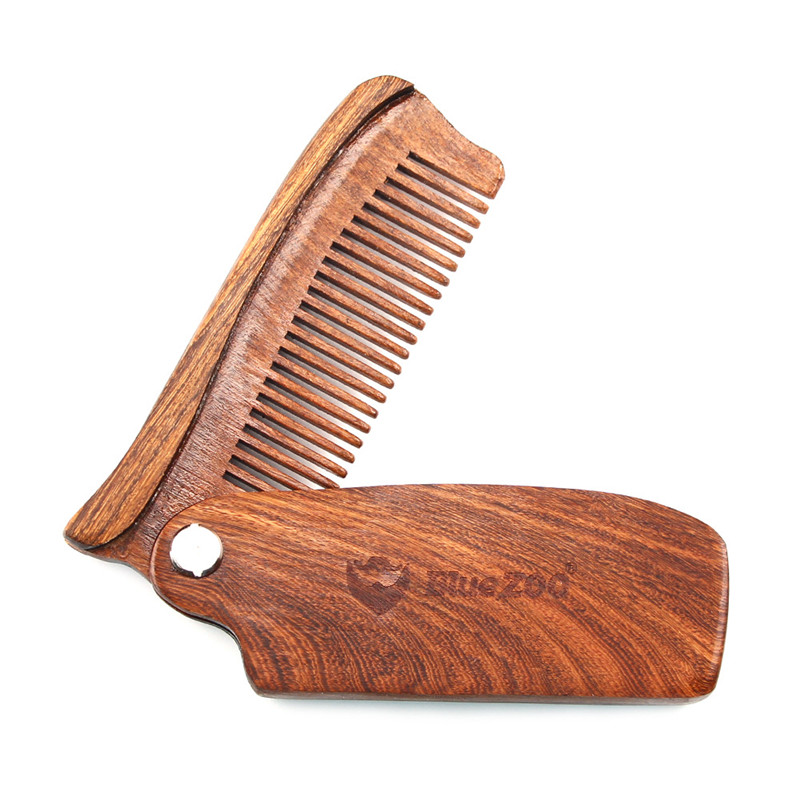 Sandalwood Fine Tooth Pocket Folding Comb Portable with PU Bags All Hair Types Beard Mustache Brush Wooden Combs ...