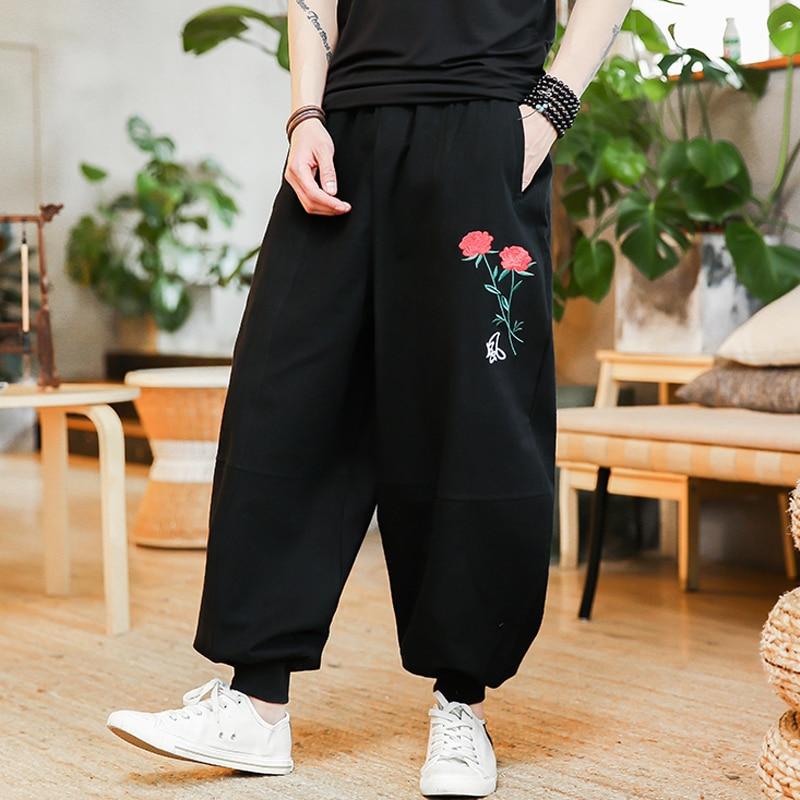 Sz M-5XL homme fleurs coton lin broderie ample sarouel pantalon décontracté