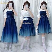 Azul lolita vestido adulto hanfu para mulheres chiffon céu estrelado gradiente jsklolita vestido de renda para meninas doce lolita han tang saia