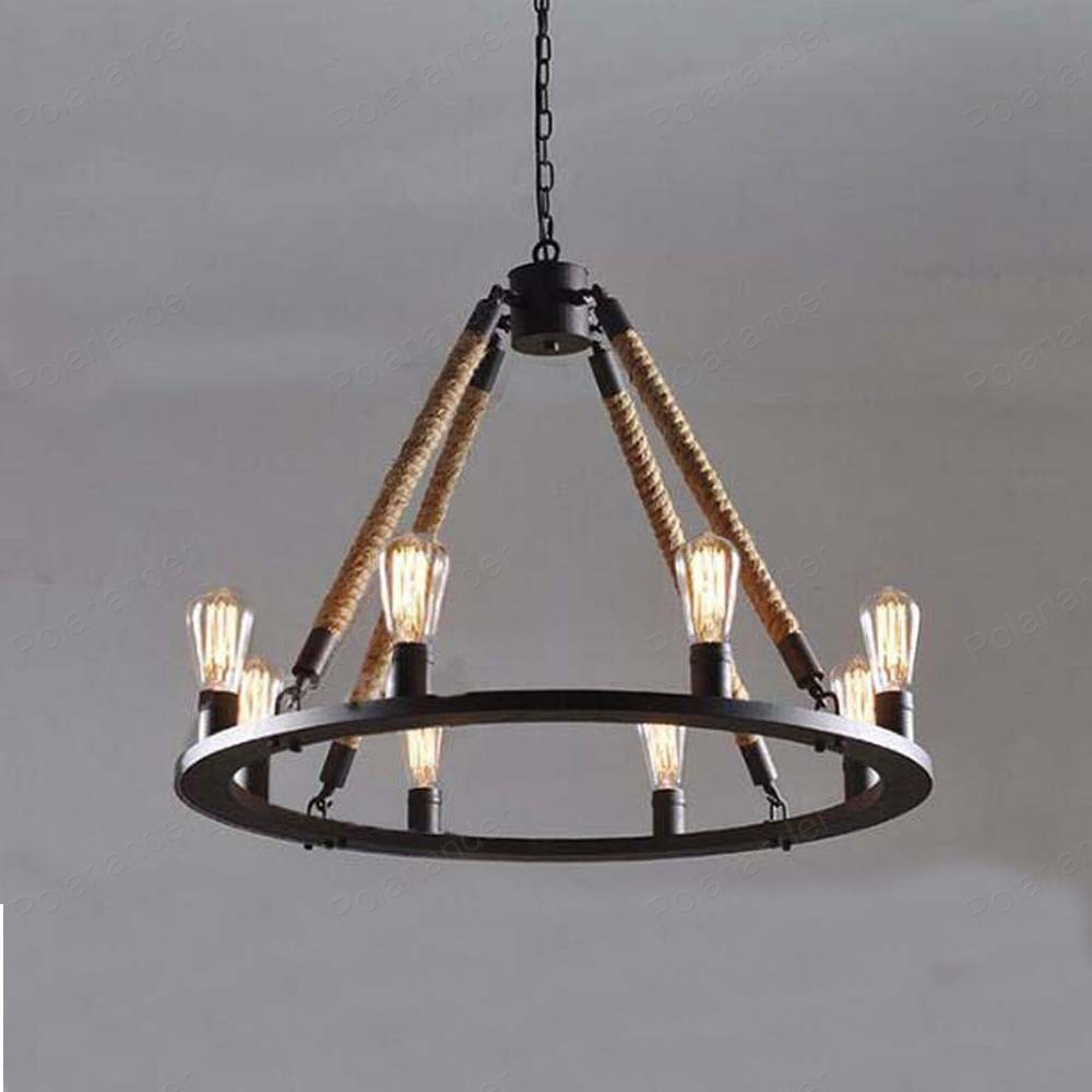 Us 132 0 hemp rope chandeliers personalized simple round table iron chandelier for bedroom dining room 8 heads retro pendant lamp in chandeliers