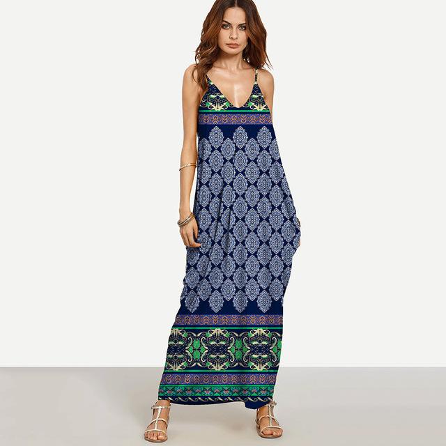 Weljuber Long Maxi Dress 2017 Women Boho Vestidos Summer Strap Dress Beach Wear Strap Deep V Neck Sleeveless Dresses
