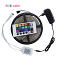 Waterproof led strip 300leds SMD 3528 DC12V safe strip lighting outdoor 5M with 24Key controller(for RGB) and power adapter