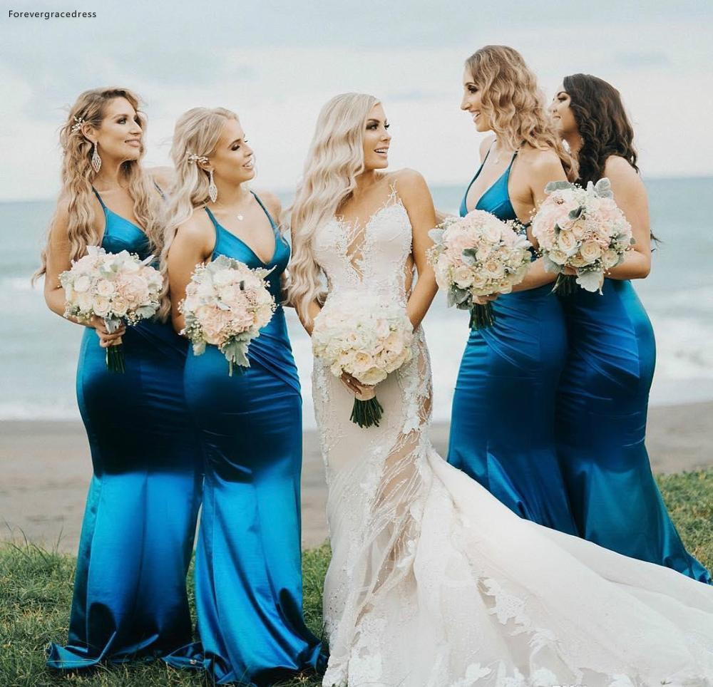 Deep V Neck   Bridesmaid     Dresses   2019 Simple Summer Country Garden Formal Wedding Party Guest Maid of Honor Gowns Plus Size