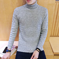 2016 autumn and winter high-quality men's gentleman Slim warm corrugation M-5XL solid color high-necked sweater