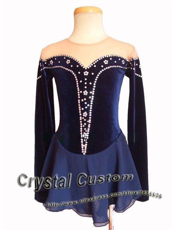 Offres spéciales robes de patinage sur glace avec strass adulte Spandex belle nouvelle marque Vogue robe de compétition de patinage artistique DR2511