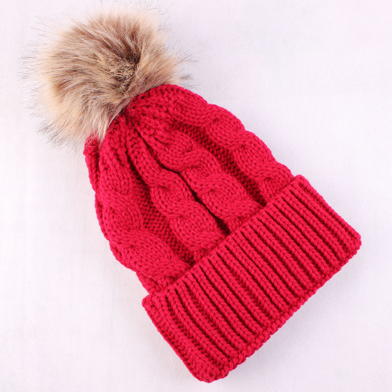 Womens Winter Warm Braided Crochet Wool Knit Hat Girl Beret Beanie Ball Cap Pom pom Hat Fur Pom Hat for Women new women winter crochet wool knit beanie beret ball cap baggy warm hat