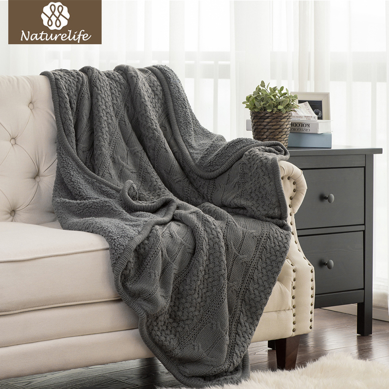 Naturelife Home Knitted Throw Blanket For Summer Sofa Sleeping Snap Cover Luxury Soft Sherpa Blanket Travel Blankets Comforter