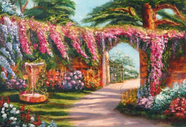 Laeacco Flowers Garden Oil Painting Landscape Photography Backdrops Vinyl  Custom Photo Backgrounds Prop For Photo Studio