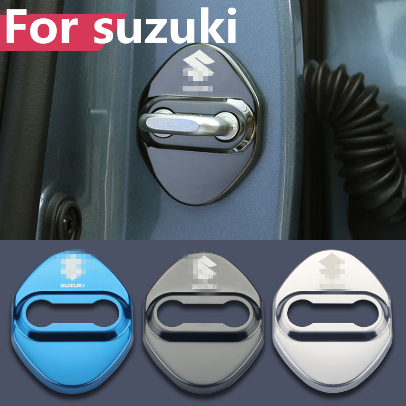 4PCS Car Door Lock Buckle cover car <font><b>accessories</b></font> interior Door Lock cover protector For <font><b>suzuki</b></font> vitara ertiga swift <font><b>celerio</b></font> lgnis image
