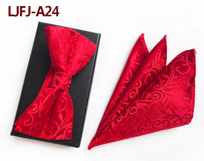 חדש עיצוב אדום כחול כהה עצמי קשת עניבה וממחטה סט משי אקארד ארוג גברים BowTie Pocket כיכר הממחטה חליפה מסיבת חתונה