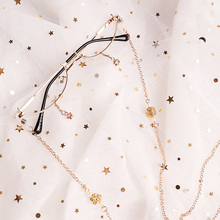 Ins half box decorated frames without lenses star pendant with chain concave men and women modelling lolita glasses
