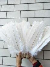Atacado beatiful 10 pçs assustar natural grande branco águia cauda penas 40 45 cm/16 18 polegada decorativo diy jóias acessórios