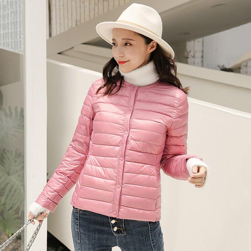 95% Duck Down Jacket Women down coat Ultra Light outwear button o-neck overcoat warm portable solid winter coat plus size jacket