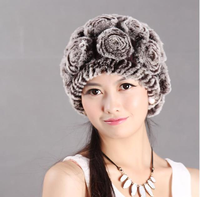 Woman autumn plus size Striped thicken Rabbit fur Skullies & Beanies hats female winter warm stretch protection ear caps