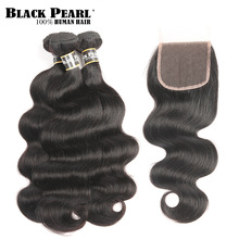 Black Pearl Peruvian Hair Bundles With Closure Body Wave Bundles With Closure Non remy  Human Hair 3 4 Bundles With Closure
