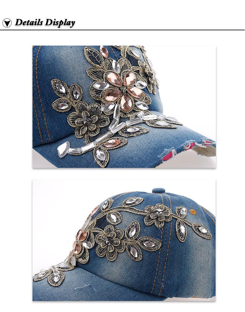 Rhinestone & Crystal Studded Baseball Cap - Brim and Side Details