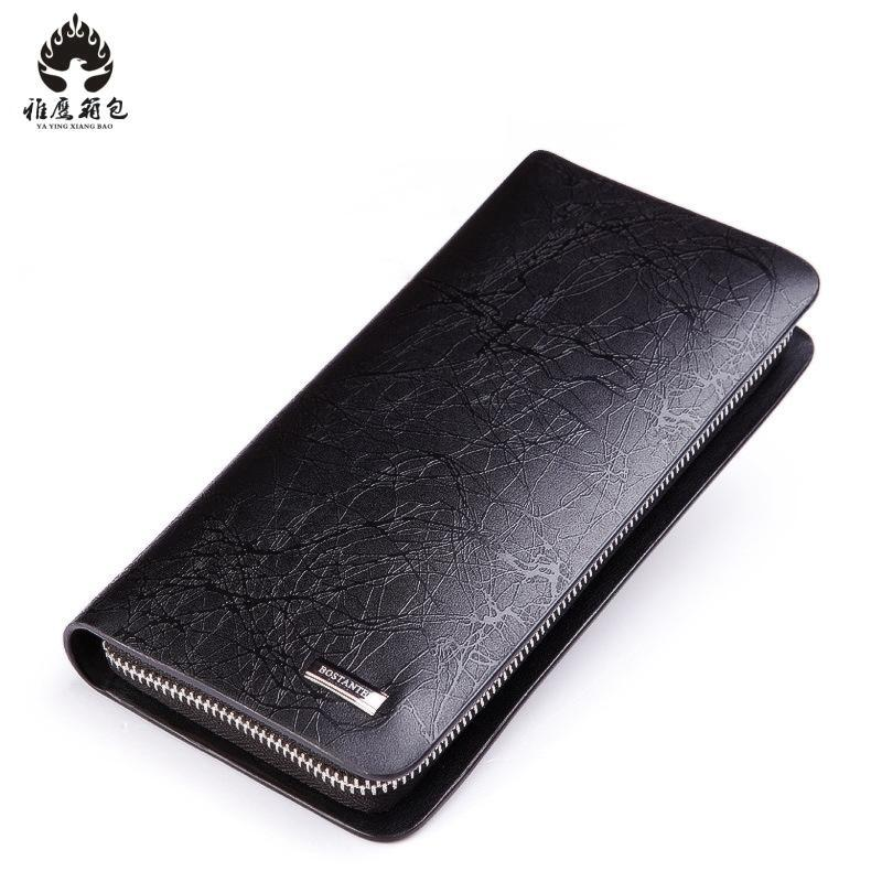 Card Holder Genuine Leather Wallet Men Long Design Passport Cover Fashion Casual Mens Purse Zipper Multi-function Coin Purse waxy ultrathin leather women long wallet purse men multi card holder