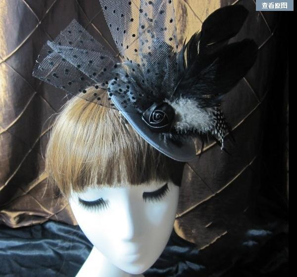 Mini Top Hat Black Veil Gothic Lolita Goth EMO Bridal Races Feather Hair Accessories Handmade