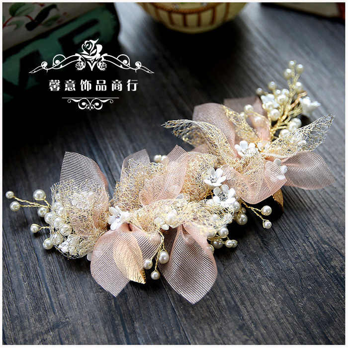 Korean silk yarn flower bride headdress beauty wedding hair accessories pink hair ornament diadem mariage bijoux de tete cheveux