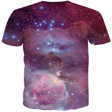 Фотография xanLEER 2018 top quality short pullover casual attractive 3D sky map print O-neck purple short sleeves fitness tshirt