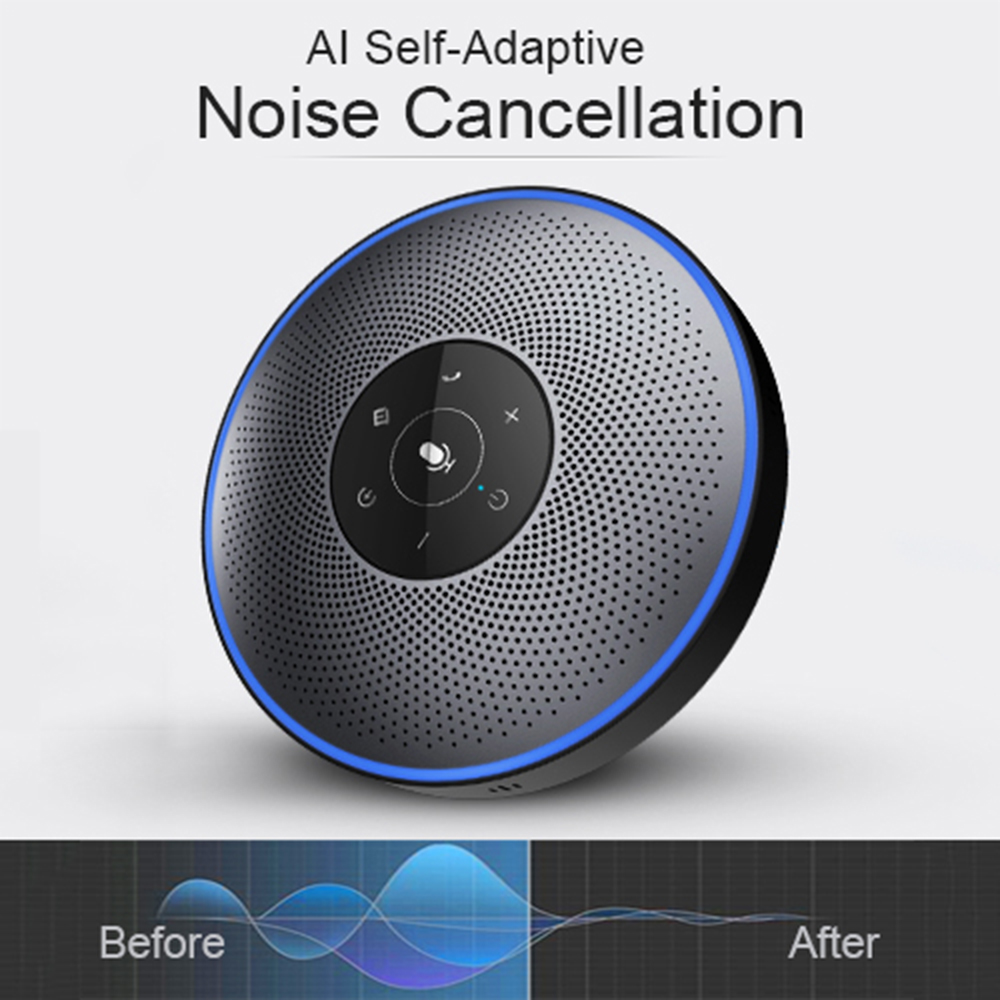 eMeet M2 Intelligent Business Conferencing Speakerphone Far Field Voice Recognition Cordless Mobile Speakerphone Wireless xj3