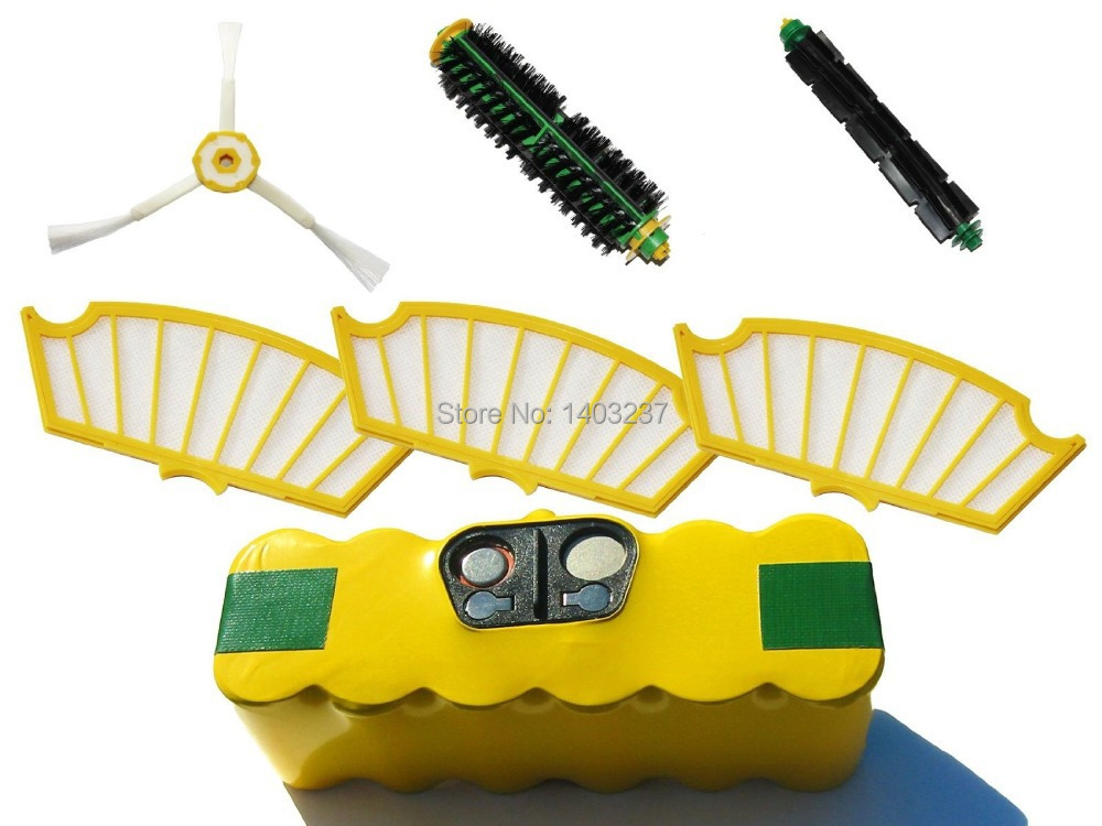 Vacuum Cleaner Accessory Kit For iRobot Roomba 560 Battery, Filter, Bristle Brush, Flexible Beater Brush 3-Arm Side Brush for irobot roomba 580 vacuum cleaner accessory kit for roomba 500 551 536 kit includes 3500mah battery side brush filter