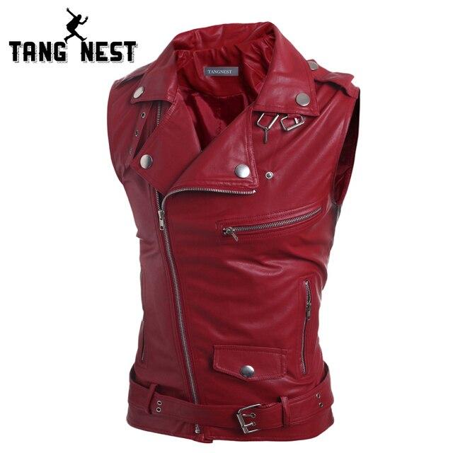 TANGNEST Vest Men 2017 New Personality Desigher Men's PU Leather Vest Decoration Handsome Fashionable Leather Vest Male MWB186