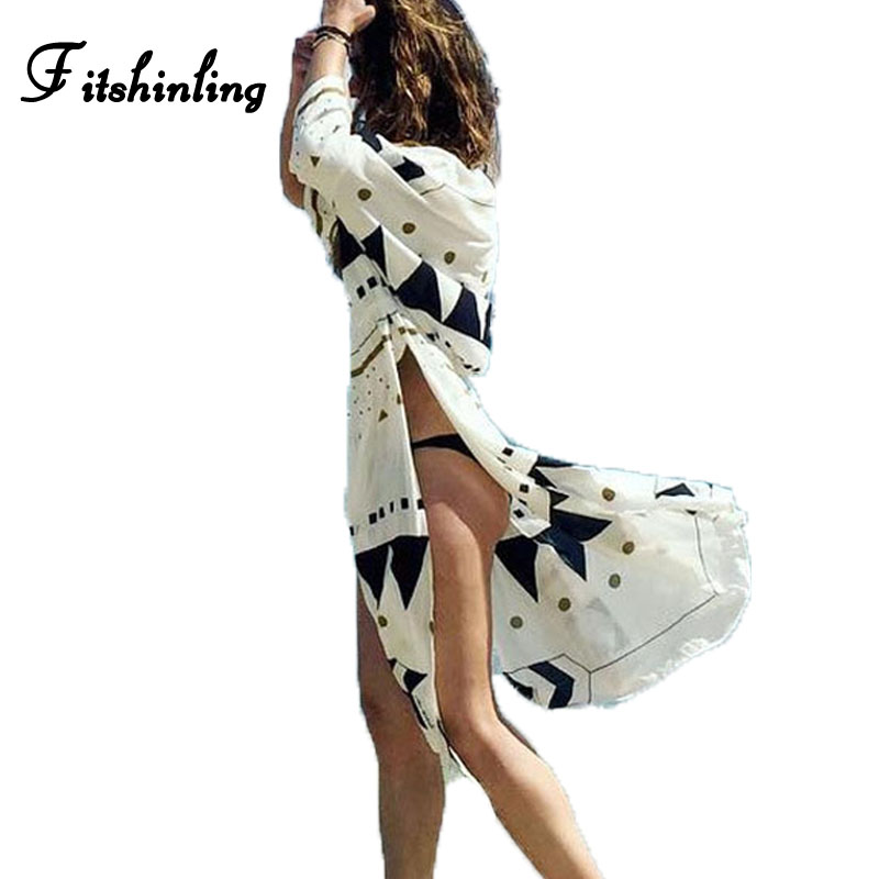 Fitshinling Side slit beach cover up boho geometric sexy hot robe swimwear output long blouse shirt drawstring waist cover-ups