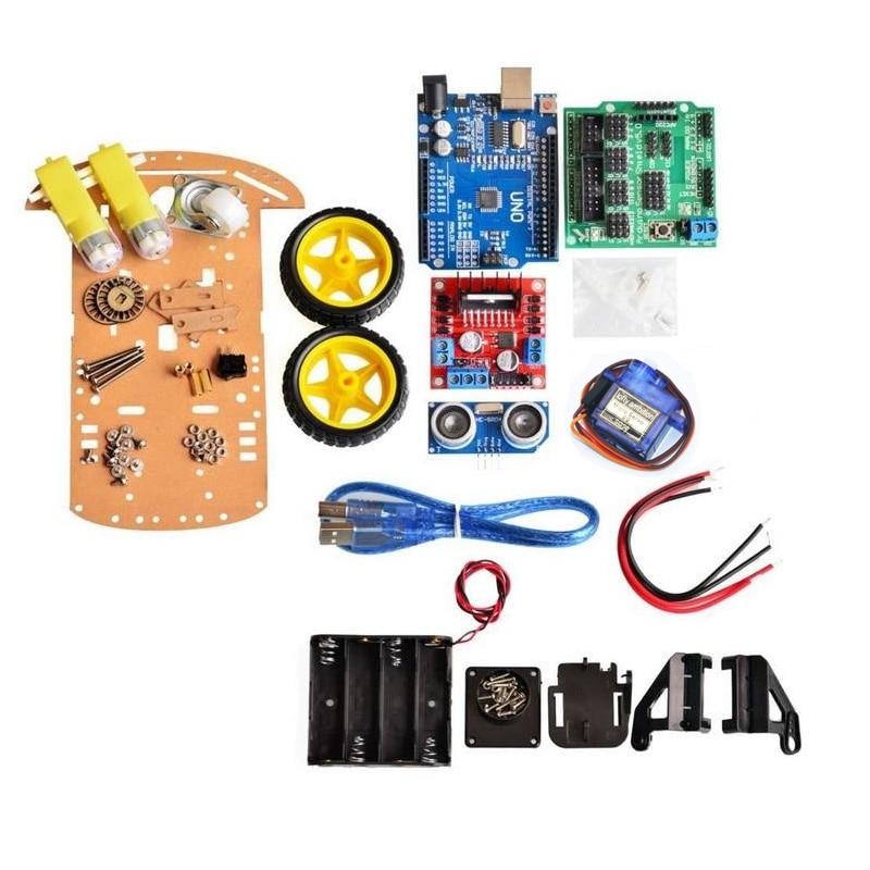 Avoidance Tracking Motor Smart Robot Car Chassis Kit Speed Encoder Battery Box 2WD Ultrasonic Module Kit For Arduino