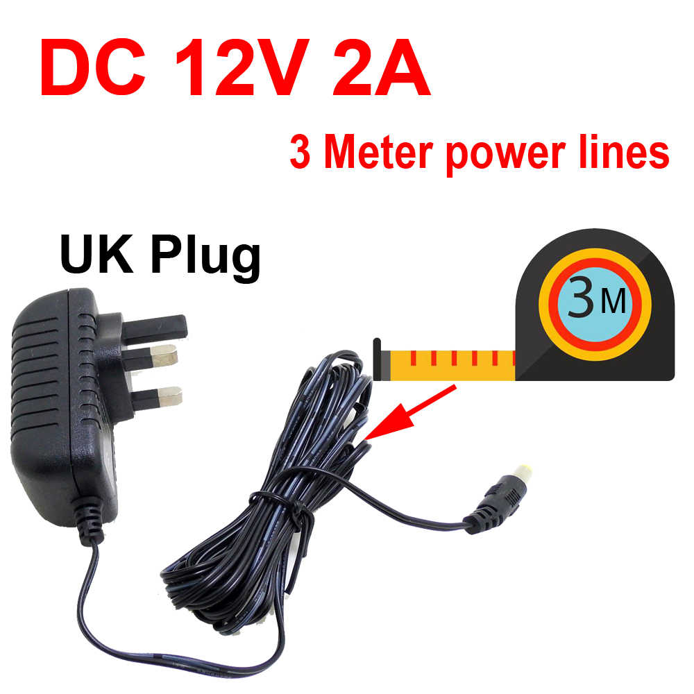3 meter UK Power Adapter Oplader Plug AC/DC 3 M Stroomkabel verlengsnoer voor CCTV Camera AC 100-240V DC 12V 2A (2.1mm * 5.5mm)
