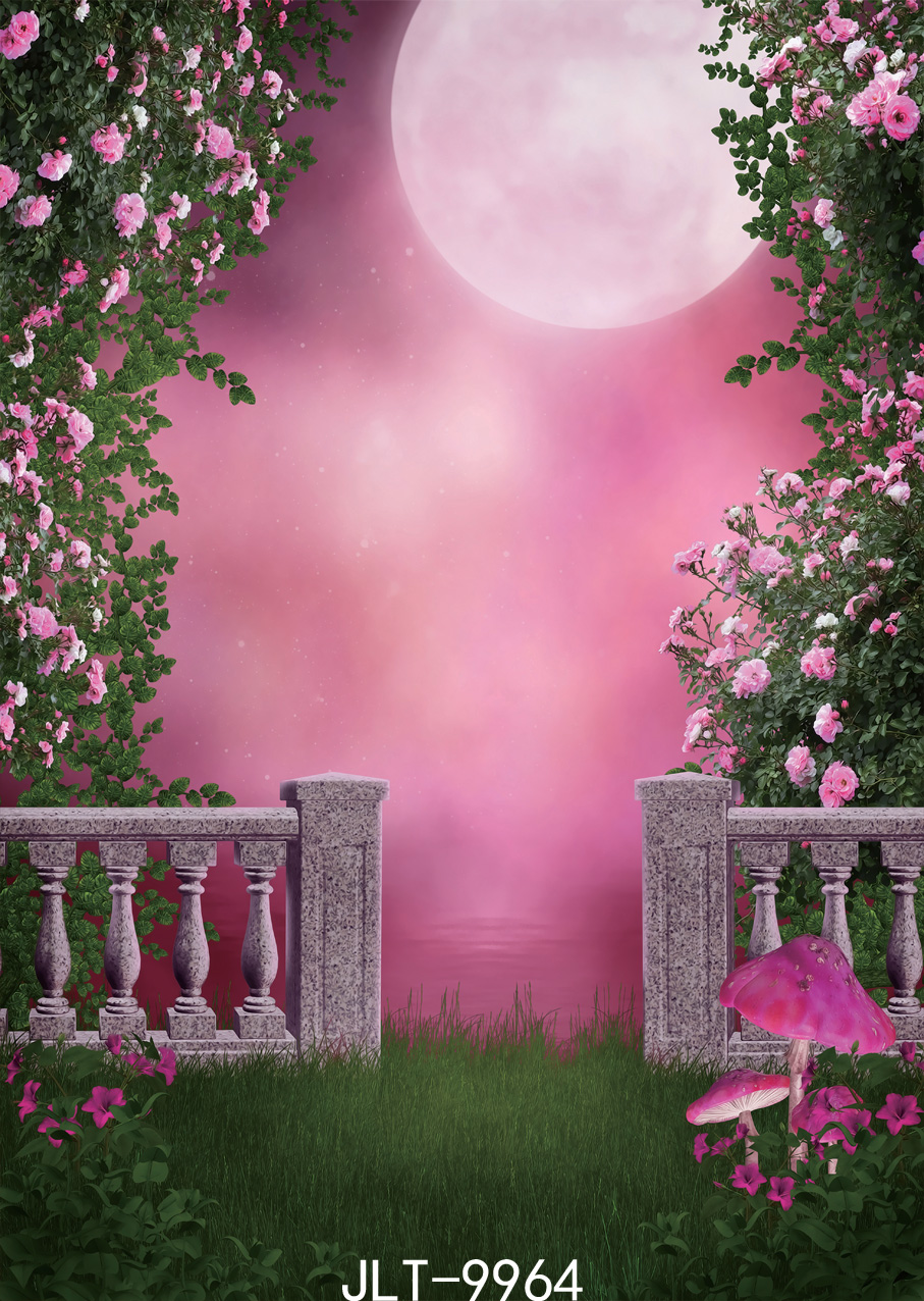 Flower Pink Moon Party Setting Photography Backdrops